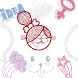 Flicka för tecknad film för vektor hand dragen lycklig med modern frisyr Educat royaltyfri illustrationer