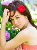 Flicka för vårskönhet Arkivfoton