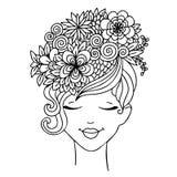 Flicka för vektorillustrationzentangl med fjärilar i blommor Anti--spänning för färgläggningbok för vuxna människor svart white Arkivfoton