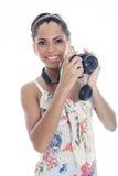 Flicka-fotograf tagandeknäpp som isoleras på vit Royaltyfri Fotografi