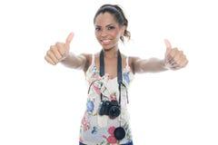 Flicka-fotograf tagandeknäpp som isoleras på vit Arkivbilder