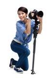 Flicka-fotografen tar skott royaltyfria foton
