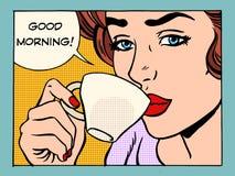 Flicka för bra morgon med koppen kaffe Arkivbilder