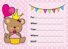 Flicka för inbjudankortfödelsedag Arkivfoto