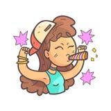 Flicka för sportfan i lock, tättsittande halsband och drog Emoji för blåttöverkant den hand coolt skisserade ståenden Royaltyfri Foto