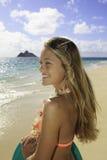 flicka för strandbrädeboogie Arkivbild
