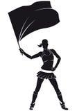 Flicka från stödgruppen, hejaklacksledare med flaggan Royaltyfri Foto