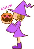 flicka halloween stock illustrationer