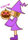 flicka halloween Arkivfoton