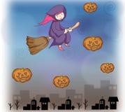 flicka halloween royaltyfri illustrationer