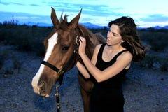 flicka henne häst Royaltyfri Foto