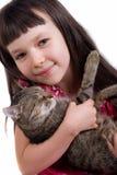 flicka henne little husdjur Arkivfoto