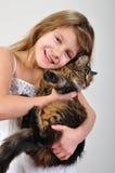 flicka henne little husdjur Arkivbilder