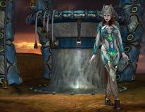 Flicka i armor på en lastningsbrygga Arkivbild