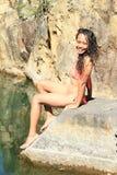 Flicka i baddräkt Arkivfoton