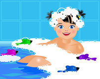 Flicka i badet med skum Arkivfoton