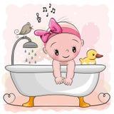 Flicka i badrummen stock illustrationer