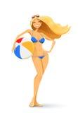 Flicka i bikini med bollen Arkivbild