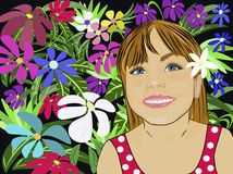 Flicka i blommor royaltyfri illustrationer