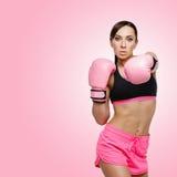 Flicka i boxninghandskar Fotografering för Bildbyråer