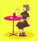Flicka i cafe vektor illustrationer