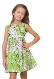 Flicka i den gröna klänningen Arkivfoton