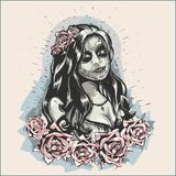 Flicka i den makeupDia De Los Muertos Tattooed Lady bilden Royaltyfria Foton
