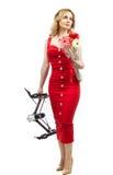 Flicka i den röda klänningen Arkivbild