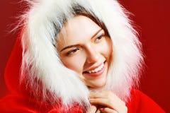 Flicka i den santa torkduken Arkivfoto