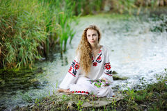 Flicka i den ukrainska medborgarekläderna med kransar av blommanollan Fotografering för Bildbyråer