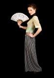 Flicka i den viktorianska klänningen som rymmer en fan Arkivbilder