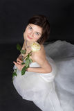 Flicka i den vita klänningen av bruden Fotografering för Bildbyråer
