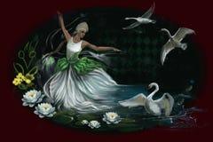 Flicka i den vita klänningen som sitter nära sjön med svanar royaltyfri illustrationer