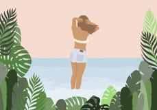 Flicka i en baddr?kt och jeans p? havsbakgrunden i gr?n palmbladram stock illustrationer