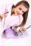 Flicka i en badrock Fotografering för Bildbyråer