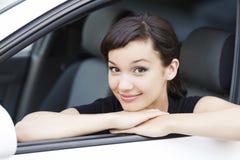 Flicka i en bil Royaltyfria Foton