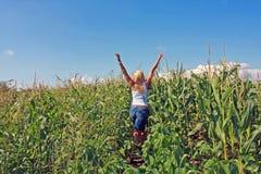 Flicka i en cornfield Royaltyfria Foton