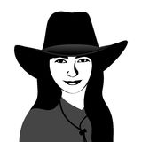 Flicka i en cowboyhatt stock illustrationer