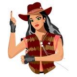 Flicka i en cowboyhatt som pekar upp royaltyfri illustrationer