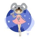 Flicka i en dräkt av koalor Arkivbild