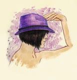 Flicka i en hatt Royaltyfri Illustrationer
