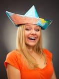 Flicka i en hatt från översikt arkivbilder