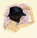 Flicka i en hatt i profil Vektor Illustrationer