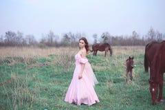 Flicka i en klänning nära en häst Fotografering för Bildbyråer