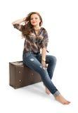 Flicka i en kontrollerad skjorta Fotografering för Bildbyråer