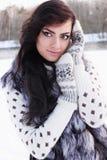 Flicka i en pälsväst Fotografering för Bildbyråer
