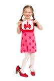 Flicka i en röd klänning härlig för studiokvinna för par dans skjutit barn Royaltyfria Foton