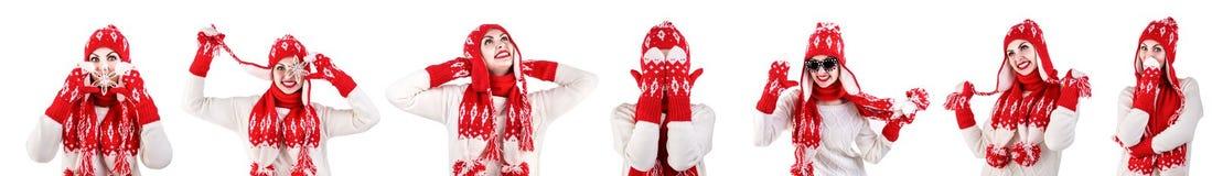 Flicka i en stack hatt, halsduk och tumvanten Rött med den vita modellen Härliga, varma, stack och virkade objekt collage royaltyfri foto