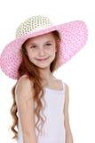 Flicka i en sugrörhatt Arkivfoto