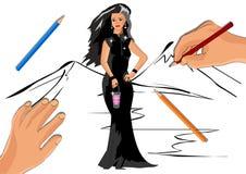 Flicka i en svart klänning med en lykta i hennes händer vektor illustrationer